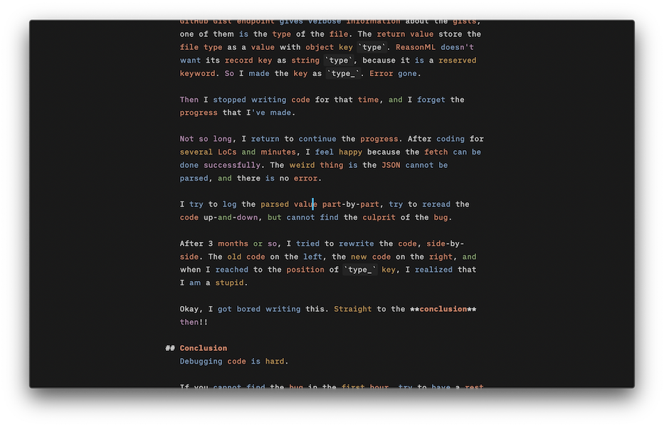 I tried iA Writer trial on Mac, with its syntax highlighting on